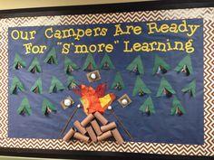 Ideas For Summer Camping Theme Bulletin Boards Camping Bulletin Boards, Summer Bulletin Boards, Classroom Bulletin Boards, Future Classroom, Classroom Themes, Classroom Organization, Classroom Decor, First Grade Classroom, Kindergarten Classroom