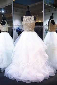 Two Piece White Shiny Ruffles Sleeveless Floor Length Prom Gown with Gold Top – Sweet 16 Dresses Open Back Prom Dresses, Cute Prom Dresses, Sweet 16 Dresses, Black Prom Dresses, Tulle Prom Dress, Pretty Dresses, Homecoming Dresses, Dress Long, Pageant Dresses