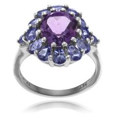 Journee Collection Sterling Silver Amethyst Tanzanite Ring (Amethyst- ) Women's