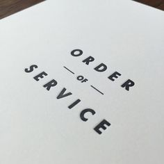 Image of Shelby: Order of service