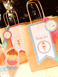 favor bags #ice #cream #party