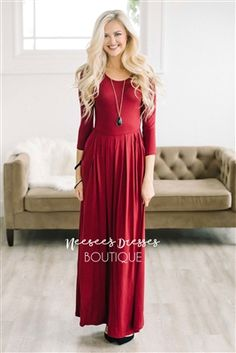Burgundy Maxi Modest with Pockets, Church Dresses, dresses for church, modest bridesmaids dresses, best modest boutique, modest clothes, affordable modest clothes, cute modest dresses, maxi dress, floral dress, dresses with sleeves