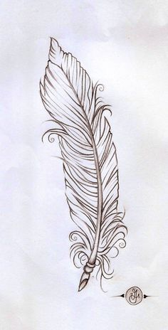Feather linework by on deviantart coloring pages Feather Drawing, Feather Tattoo Design, Feather Art, Feather Tattoos, Feather Sketch, Line Art Tattoos, Body Art Tattoos, Cool Tattoos, Tattoo Sketches
