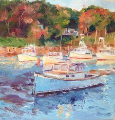 """Harbor Sunrise"", 10x10, oil on gessobord, Perkins Cove, Ogunquit, Maine.  www.carolhopper.com"