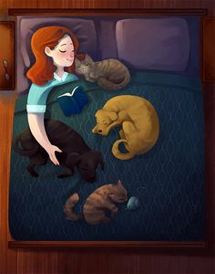 I have a dog, who has two cats. He's collecting one abandoned kitten per year. So this will be accurate in approximately 10 months. PS - I't s accurate now. My dog has three cats. I Love Cats, Crazy Cats, Dog Illustration, Art Graphique, Cartoon Art, Cat Art, Fur Babies, Cat Lovers, Art Drawings