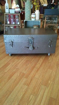 FREE SHIPPING!! Vintage Gray Trunk Coffee Table with Original Drawer / Shelf and Paper on Wheels. Storage Chest, Home Decor, Furniture. by TheRustyBucketVT on Etsy