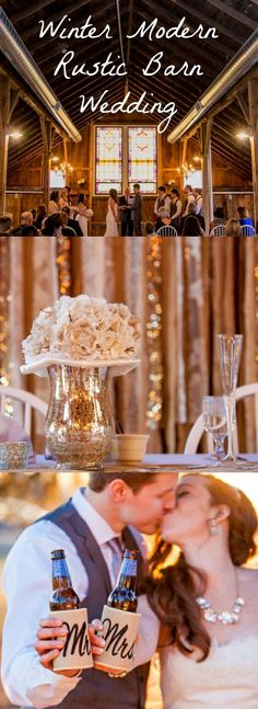 Gold glitter style decor for that winter rustic barn wedding.
