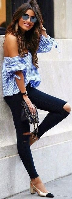 #fall #trending #outfits |  Gingham Top + Black Denim