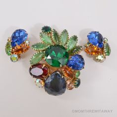 Big BEAUTIFUL Vintage BLUE Green RED Amber RHINESTONE Chunky BROOCH Pin EARRINGS