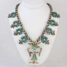 Old Pawn Zuni Sterling Silver Petit Point Turquoise Squash Blossom Necklace │RS