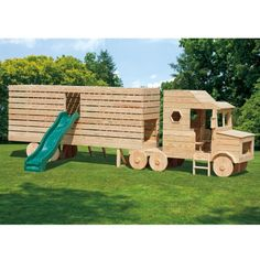 Amish Made 23x4 ft Wooden Semi Truck Playground Set with Slide