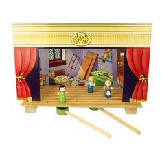 """Sa inceapa spectacolul! Teatrul de papusi magnetic este creat special pe scenariul povestilor pentru copii: """"Cei trei purcelusi"""", ,,Scufita Rosie"""", ,,Cenusareasa"""", ,,Pinocchio"""". Scena este conceputa astfel incat personajele pot fi mutate, conform rolului caracteristic. Setul contine un teatru, 4 decoratiuni, 2 instrumente magnetice pentru ghidare si 15 personaje.  Dimensiune: 32 x 17 x 21 cm. Varsta recomandata: 3 ani+"""