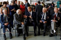 William shares a joke with veterans in Coningsby today. The Duke is patron of the (BBMF), ...