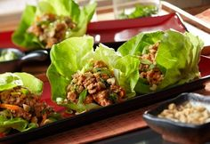 Asian Lettuce Cups Recipe: Perfectly seasoned ground turkey (Rice or Noodles?), hot and sour broth and fresh cilantro combine to make a flavor-packed filling to be served in tender lettuce cups. Finish with a sprinkle of chopped peanuts and green onions. Asian Recipes, Healthy Recipes, Ethnic Recipes, Asian Foods, Bariatric Recipes, Chinese Recipes, Hot And Sour Broth, Asian Lettuce Wraps, Clean Eating