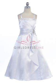 White Brilliant Satin Rufflel Detail A-line Flower Girl Dress with Sparkles SG-4305-WH on www.GirlsDressLine.Com