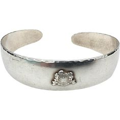 Antique Handmade Sterling Silver Cuff Bracelet With Crest Les Filles Schurz - Antique Handmade Sterling Silver Cuff Bracelet With Crest Les Filles Schurz