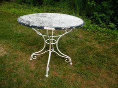 """Woodard Mesh Top Wrought Iron Garden Table / 35"""" $300"""