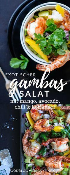 exotischer salat mit gambas, mango, avocado und koriander ♥ trickytine.com