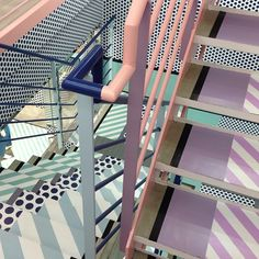 Painted fire escape has inspiring colors and patterns that would work well in an interior space. Interior Architecture, Interior And Exterior, Interior Design, Interiores Art Deco, Fire Escape, Design Studio, Pretty Pastel, Wabi Sabi, Stairways
