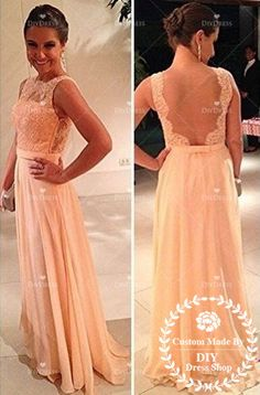 Sexy Open Back Prom Dress,2014 Prom Dresses,Lace Bodice Chiffon Skirt Prom Party Dress,Long Formal Dress,Lace Prom Dress