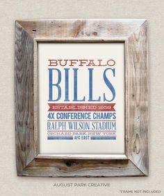 Nursery decor. Buffalo Bills - 8x10- Rustic - Vintage Style - Typographic Art Print - Subway Style - Football