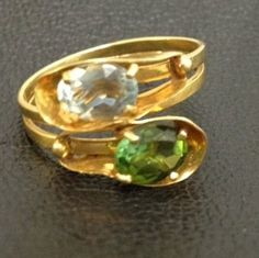 Solid 18k Gold Stamped 750 Peridot & Aquamarine Ring Size 5 1/2 - 6 ~ 3 Grams  | eBay