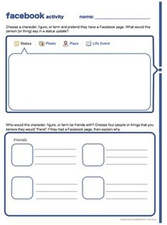 """Facebook Character Sketch Lesson for Any Novel"" aligned with the Common Core State Standards (with timeline layout & separate student files that can be shared electronically for a #paperless activity!) #commoncore"