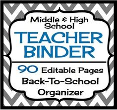 Back To School Teacher Binder For Middle High - Grey and B