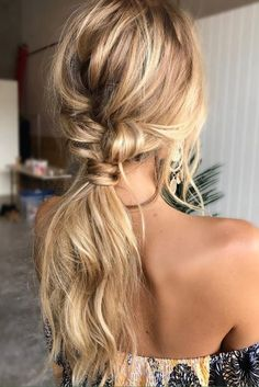 blonde balayage hair messy french braid into a low bun romantic curls long hair ideas click now for more info. Messy Ponytail Hairstyles, Wedding Hairstyles For Long Hair, Diy Hairstyles, Straight Hairstyles, Hairstyle Ideas, Hair Wedding, Pinterest Hairstyles, Fashion Hairstyles, Ponytail Ideas