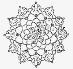 These is the mini doily crochet pattern . Crochet Snowflake Pattern, Crochet Doily Diagram, Crochet Mandala Pattern, Christmas Crochet Patterns, Crochet Snowflakes, Granny Square Crochet Pattern, Crochet Chart, Crochet Squares, Crochet Dollies
