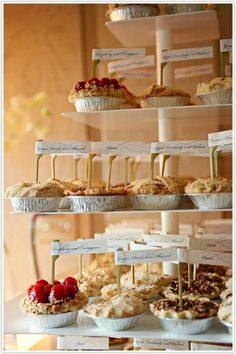 Mini pies GREAT dessert idea for your wedding! The Bridal Dish thinks this would be perfect at a rustic/barn/country theme wedding!!!!! www.TheBridalDish.com