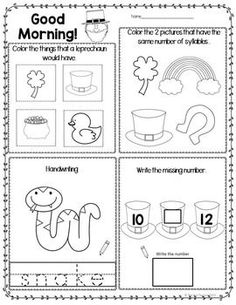 Print and Go with this Pk – K morning work. 25 black and white pages for your little ones to practice emergent reading skills.  This month has: A page to identify all pictures for the month. • 5 pages with syllables, letter identification, vocabulary, math, and concept discrimination. • 5 pages of initial sound awareness (including sh and sn). • 5 pages of rhyming (** NEW **The last box on each page is blank so children can draw their own rhyming word.) • 5 pages of ending letter sound…