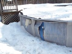 A step by step guide to closing an above ground pool to prevent damage caused by ice and snow.