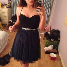 Formal/Prom dress Black top with lace and cups. Dark green tulle bottom lined inside with rhinestone belt. Worn only twice and fits size medium Dresses