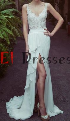 V-neck straps chiffon ruffle pleated tulle with appliques split front evening dress ,prom dress