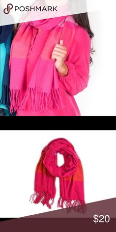 """All for color pink scarf This comfy scarf with fringe ends and wide stripes is sure to add style and warmth to your everyday look. Stylish and warm fringe end scarf. Extremely soft and warm over -sized 70"""" x 28"""" 100% Polyester All For Color Accessories Scarves & Wraps"""
