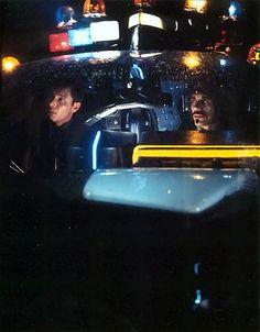 Deckard & Gaff in Blade Runner spinner police car
