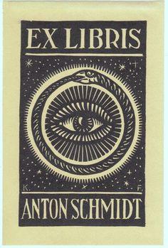 Ex Libris Anton Schmidt Auge, von Schlange (Ouroboros) umrundet, vor Sternenhimmel [1942] 150 x 92 mm Linolschnitt