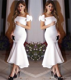 Sexy White Tea Length Arabic Cocktail Dresses 2017 Mermaid Off Shoulder Plus Size Cheap Simple Formal Evening Prom Party Gowns Vestido Festa White Plus Size Cocktail Dress White Plus Size Cocktail Dresses From In_marry, $124.83| Dhgate.Com