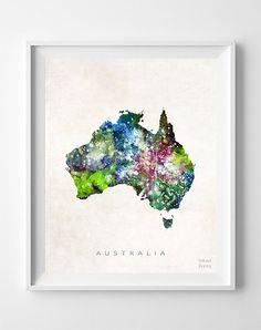 Australia Map Canberra Print Watercolor Sydney by InkistPrints