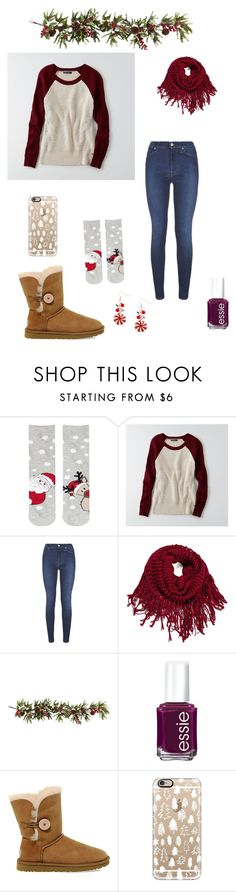 """""""25 days of Christmas: December 1st"""" by spontaneous47 ❤ liked on Polyvore featuring Topshop, American Eagle Outfitters, 7 For All Mankind, Nearly Natural, Essie, UGG Australia and Casetify"""