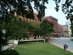 View of the 6th floor window where Oswald shot Kennedy and the infamous grassy knoll.  The 6th Floor Museum in Dallas, TX was a fascinating and informative trip through the history of JFK and the assassination.  One of the coolest tourist sites in Dallas.