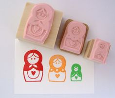 Matryoshka Russian Nesting Dolls Set of Hand Carved Rubber Stamps