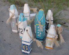 House number buoy - latitude longitude - pair of wooden buoys - stripe - lobster buoy - nautical decor - beach house decor - custom order Beach Cottage Style, Beach House Decor, Coastal Style, Coastal Decor, Hamptons Decor, Lake Decor, Beach Color, Carving Designs, Nautical Home
