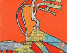 all rights reserved © Leslie DeRose 2010-2013   Title: Bike Boulder Dimensions: 7.25x7.25 image on 8.5x11 paper Medium: Archival print of my original acrylic painting  Bike Boulder is a print of the original mixed media map painting. A vintage map of Colorado is in the background with an orange and red silhouette of a bike has been sketched and painted on top.  The front is signed and titled below the image.  I print using archival inks and paper.  The print is placed in a archival sleeve…