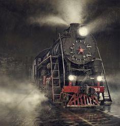 Train in the Rain - Wall Mural & Photo Wallpaper - Photowall