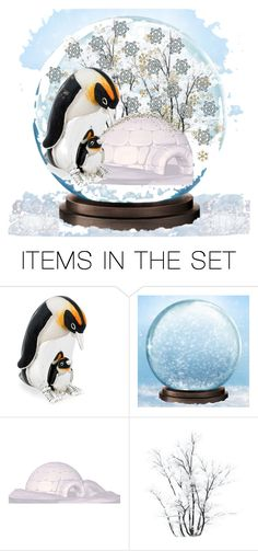 """Penguin Snow globe"" by snowflakeunique ❤ liked on Polyvore featuring art, Winter, snowflake, penguin, Snowglobe and Igloo"