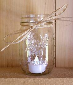 Simple Mason Jar Lantern - no flame candle