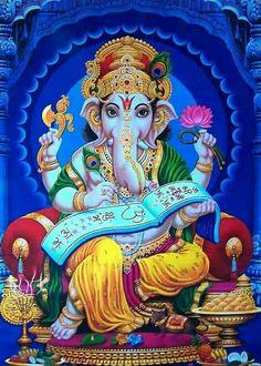 Make this Ganesha Chathurthi 2020 special with rituals and ceremonies. Lord Ganesha is a powerful god that removes Hurdles, grants Wealth, Knowledge & Wisdom. Lord Ganesha Paintings, Ganesha Art, Krishna Art, Ganesh Tattoo, Shiva Art, Shiva Shakti, Hindus, Om Gam Ganapataye Namaha, Ganesh Photo