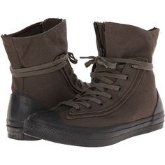 Converse Chuck Taylor All Star Combat Boot X-Hi Lace-up Boots, Green ($51) ❤ liked on Polyvore featuring shoes, boots, green, green military boots, zipper combat boots, green lace up boots, army boots and zipper boots